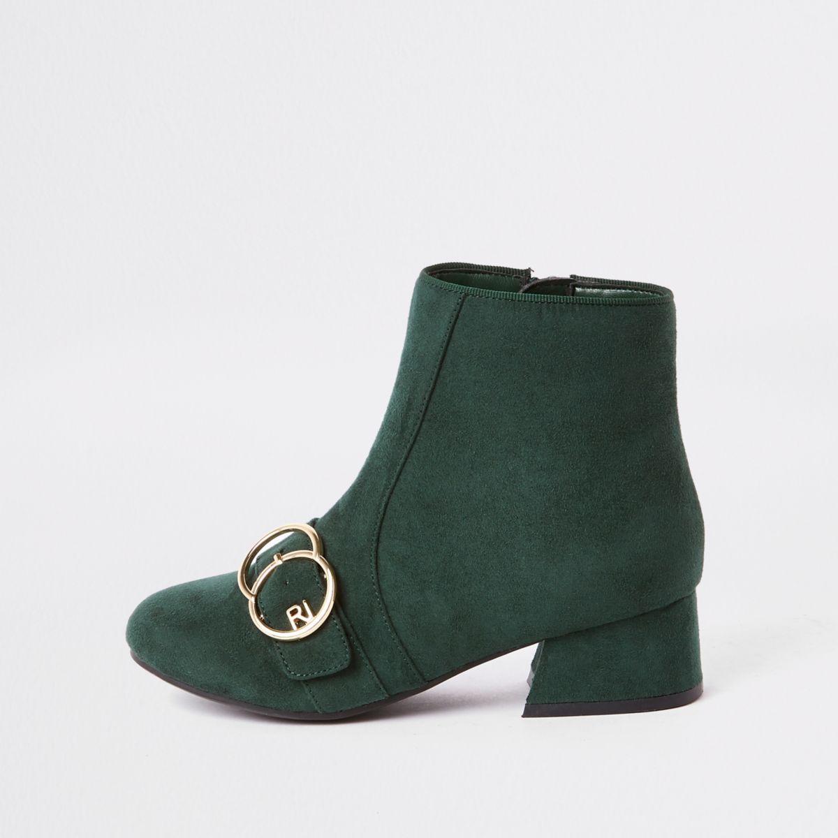 Girls green double circle RI boots