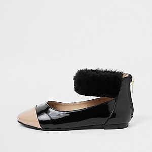 Girls black patent faux fur ballet flats