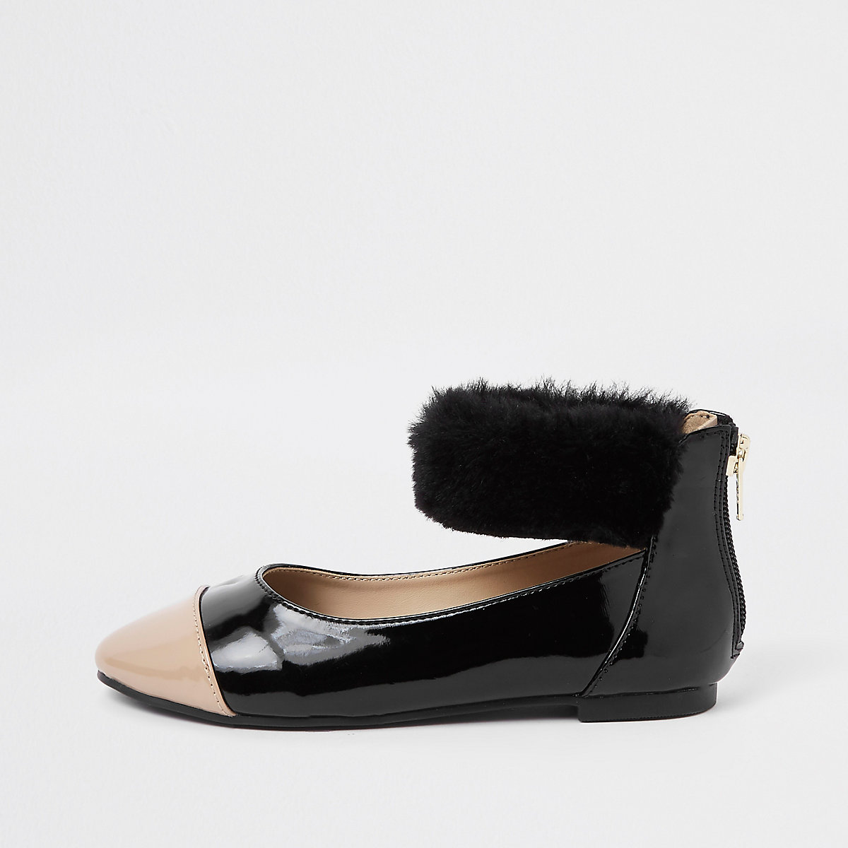 Girls black patent faux fur ballerina pumps