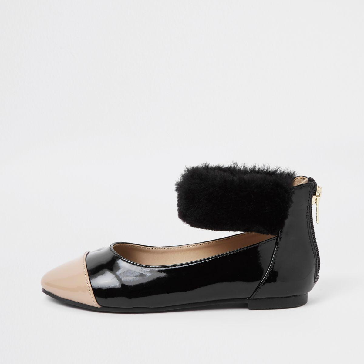 Girls black patent faux fur ballerina pumps