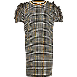 Girls grey check frill sleeve T-shirt dress