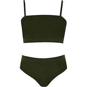 Kakigroene gesmokte bikini voor meisjes