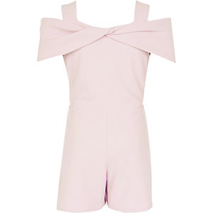 Girls light pink bow cold shoulder playsuit