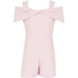 Combi-short rose clair à nœud et épaules dénudées pour fille