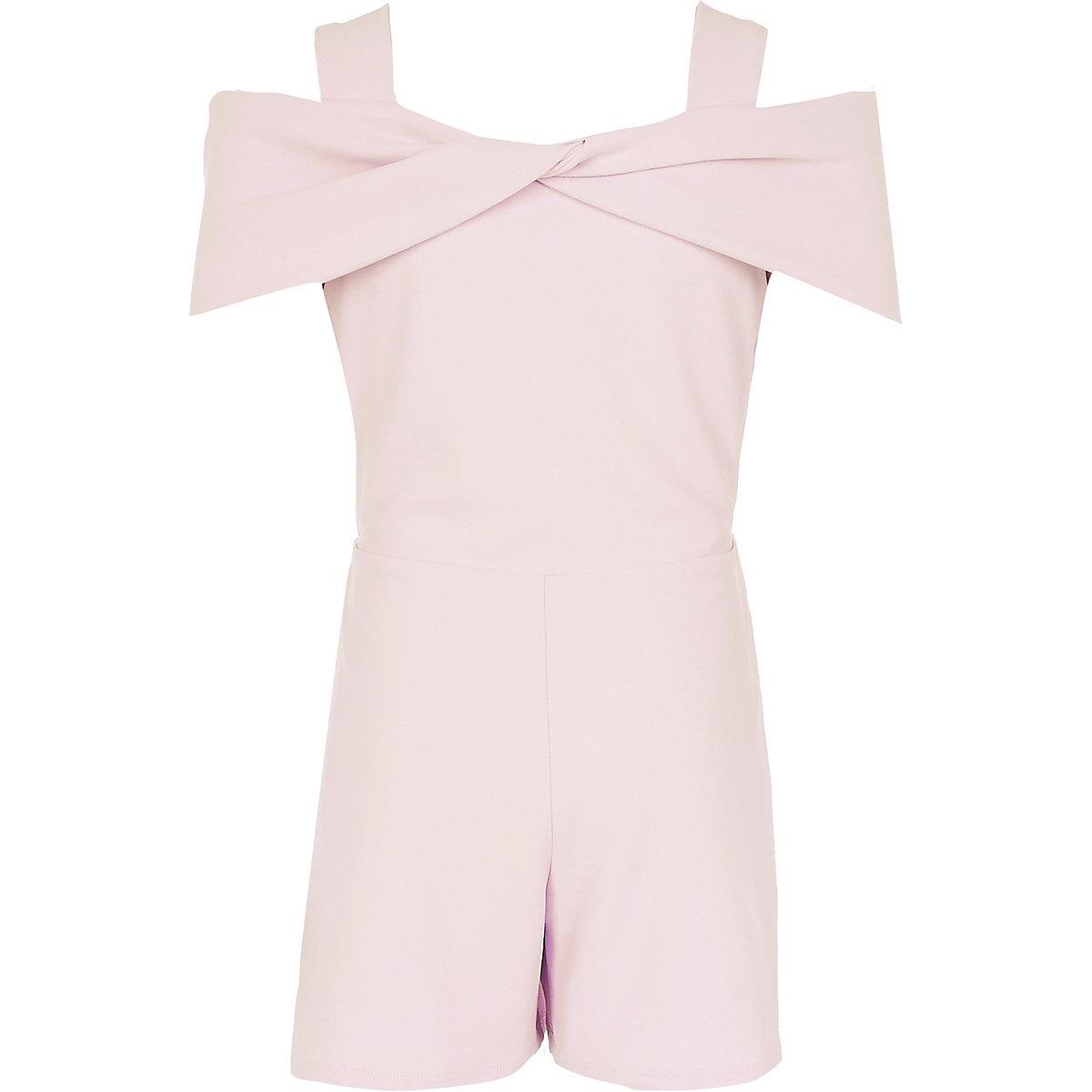 Girls light pink bow cold shoulder romper