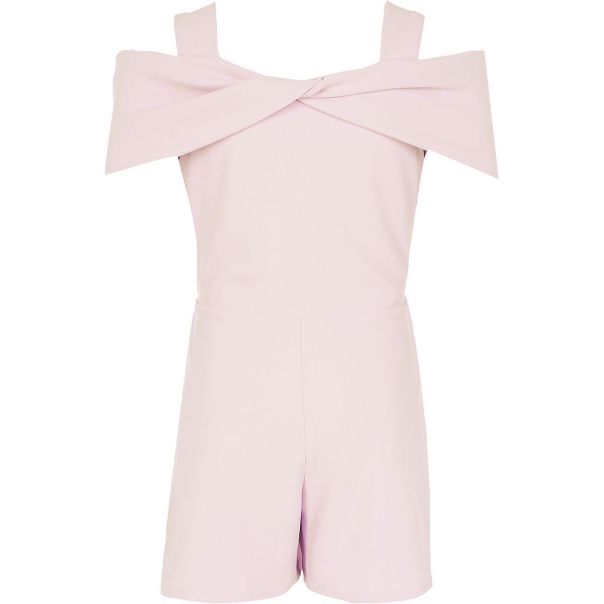 Girls light pink bow cold shoulder playsuit