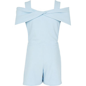 Girls light blue bow cold shoulder romper