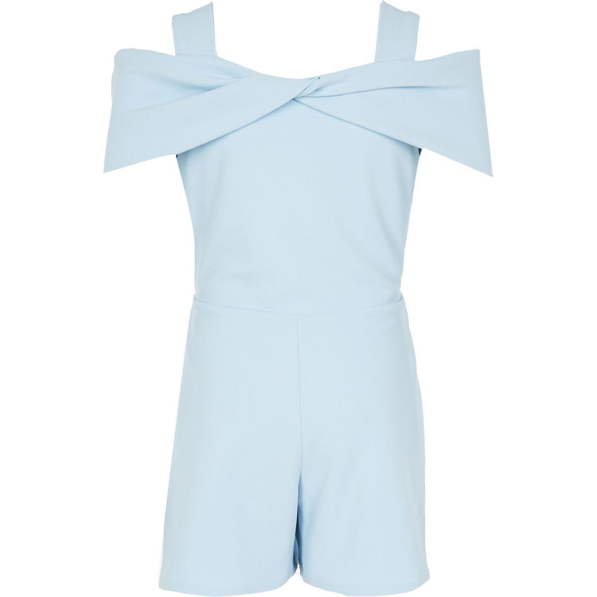 Girls light blue bow cold shoulder playsuit