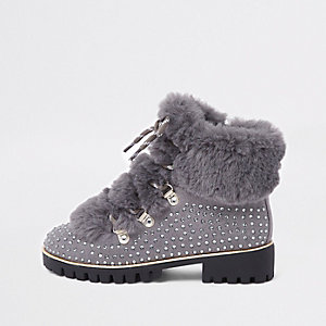 Girls grey embellished faux fur lined boots