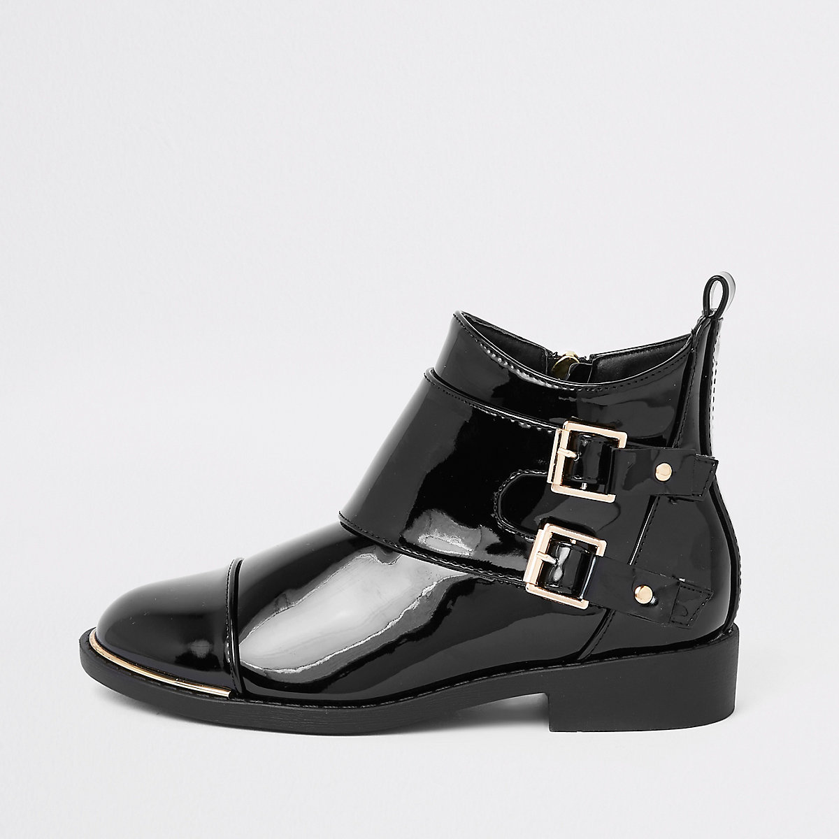 Girls black patent double buckle boots
