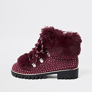 Girls dark red studded faux fur lined boots