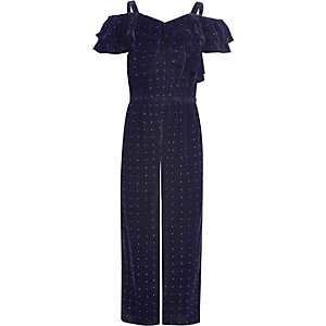 Girls navy velvet stud cold shoulder jumpsuit