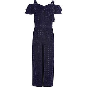 Combinaison en velours bleu marine à clous et épaules dénudées