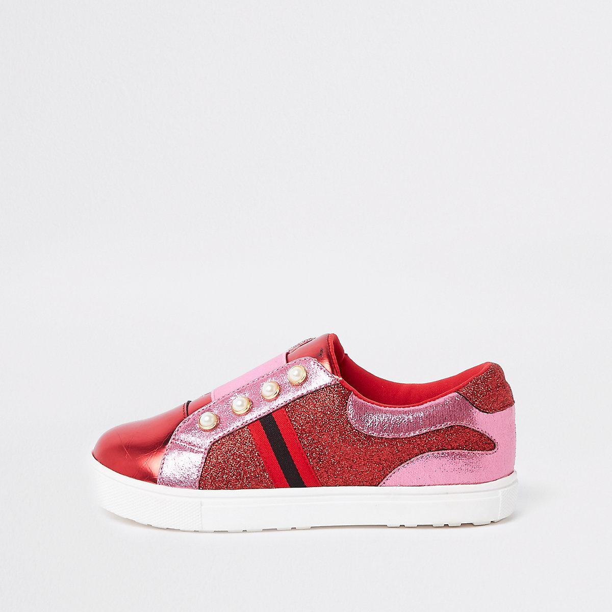 Girls pink red pearl glitter plimsolls