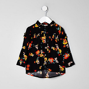 Mini girls black floral ruffle shirt