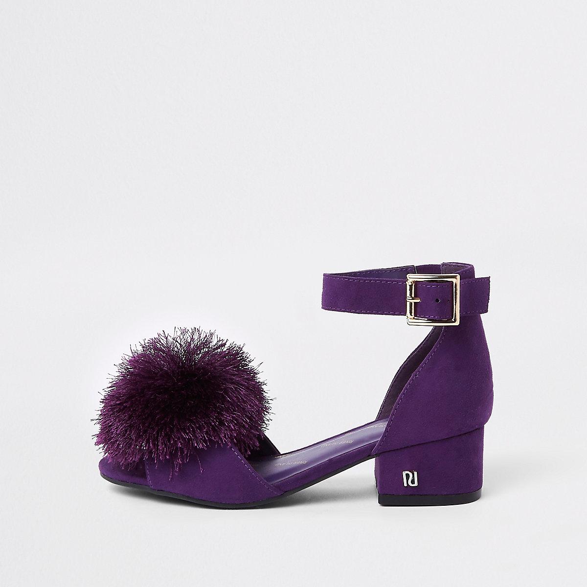 Girls purple pom pom block heel sandals