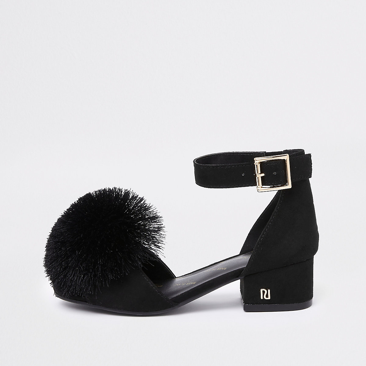 Girls black pom pom block heel sandals