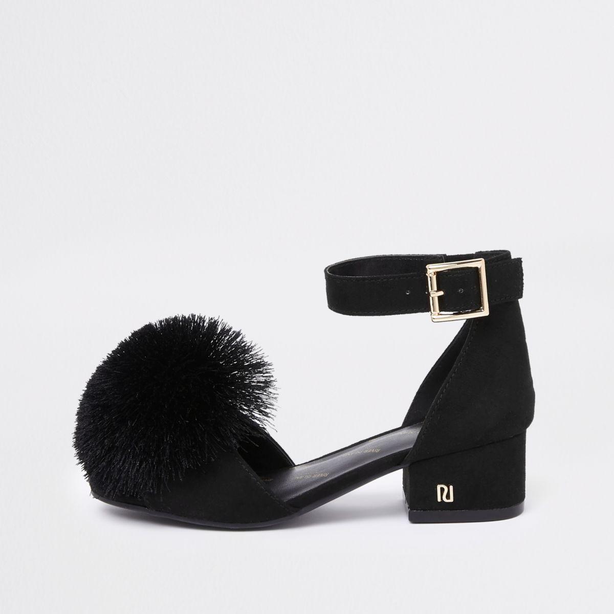 Girls Block Pom Black Heel Sandals CQdxsrth