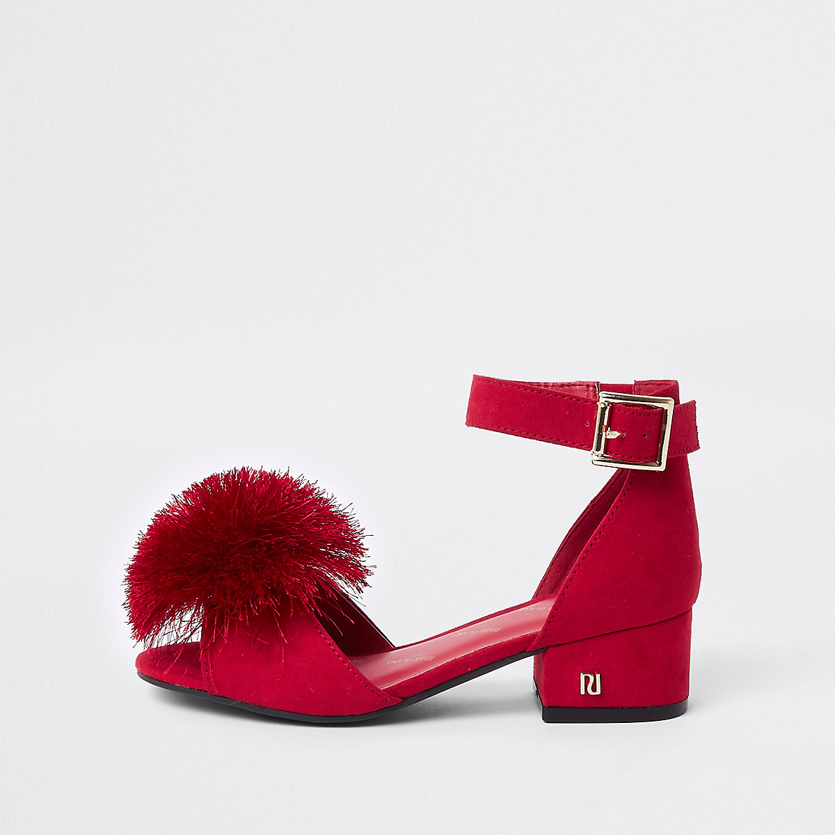 Girls red faux fur trim block heel sandal