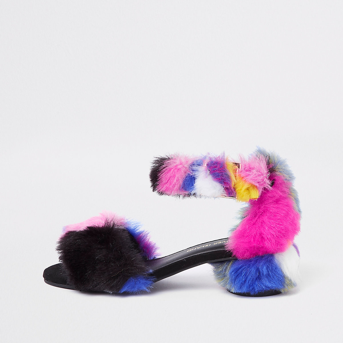Girls purple multicolour faux fur sandals
