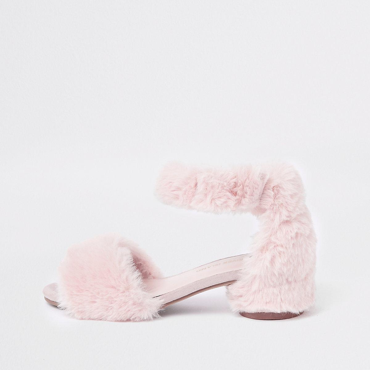Girls pink faux fur trim block heel sandals