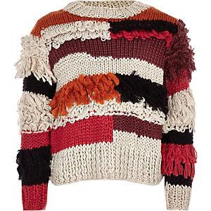 Girls beige stripe fringe hand knitted jumper