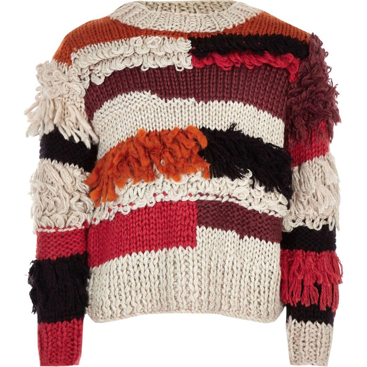 Girls beige stripe fringe trim sweater