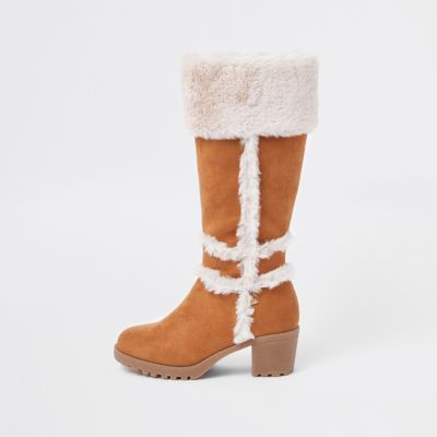 Girls Tan Faux Suede Fur Calf Boots by River Island