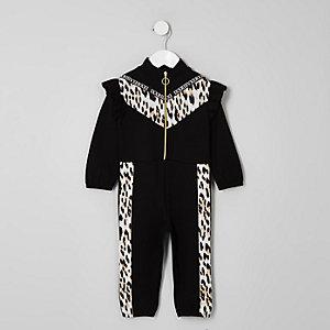 Mini girls black leopard print zip jumpsuit