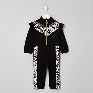 Mini girls black leopard print zip jumpsuit