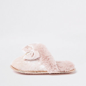 Girls pink velvet bow slippers