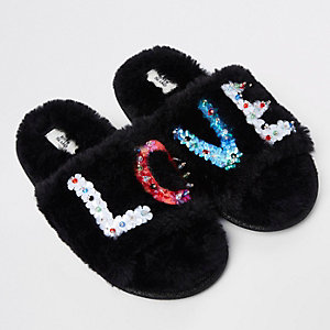 Girls black faux fur 'Love' sequin slippers