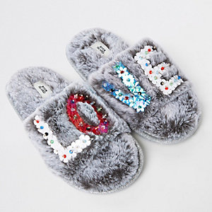 Girls grey faux fur sequin 'Love' slippers
