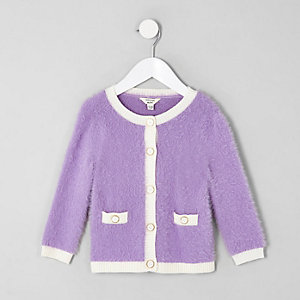 Mini girls purple fluffy knit cardigan
