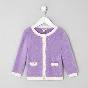 Cardigan en maille duveteuse violet pour mini fille