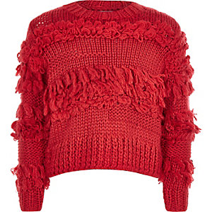 Girls red fringe trim knit sweater
