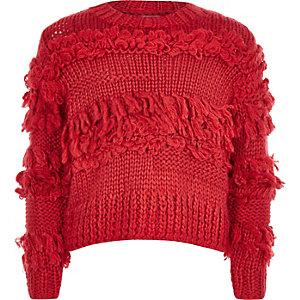 Pull rouge tricoté main à bordure frangée pour fille