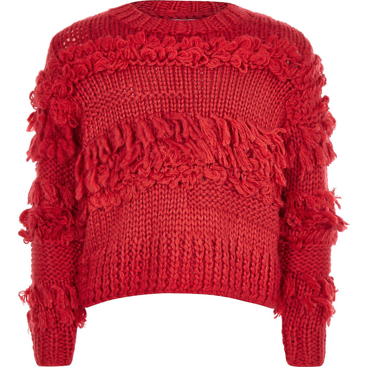 Girls red fringe trim hand knitted jumper