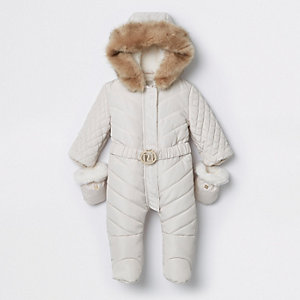 Baby cream enclosed feet RI padded snowsuit
