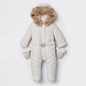 Crème gewatteerd sneeuwpak met dichte voeten en RI-logo voor baby's