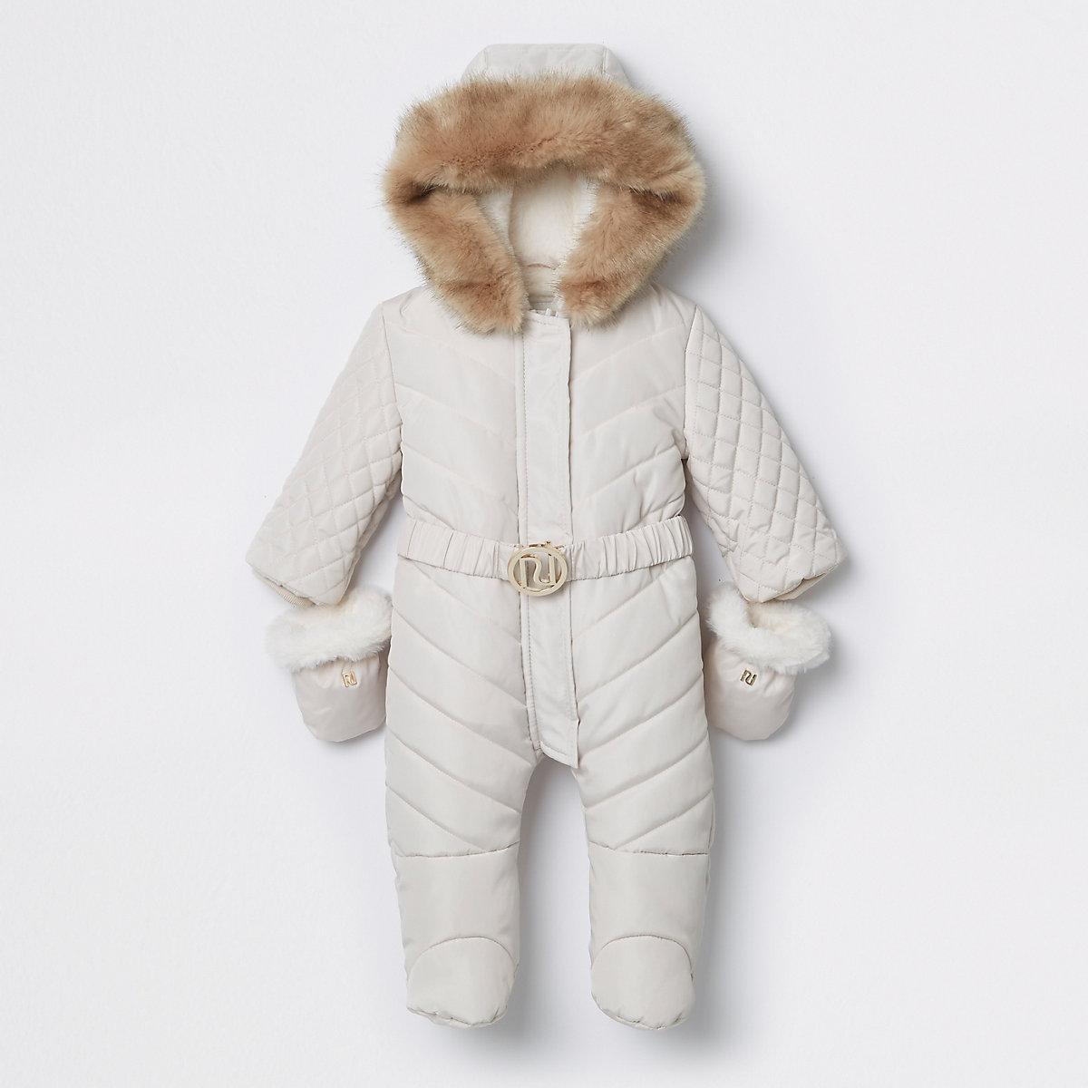 Baby cream enclosed feet RI padded snowsuit