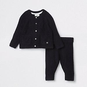 Outfit met marineblauw gebreid vest voor baby's