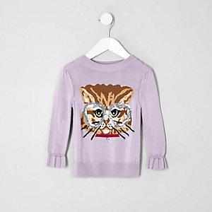 Mini girls purple cat jumper