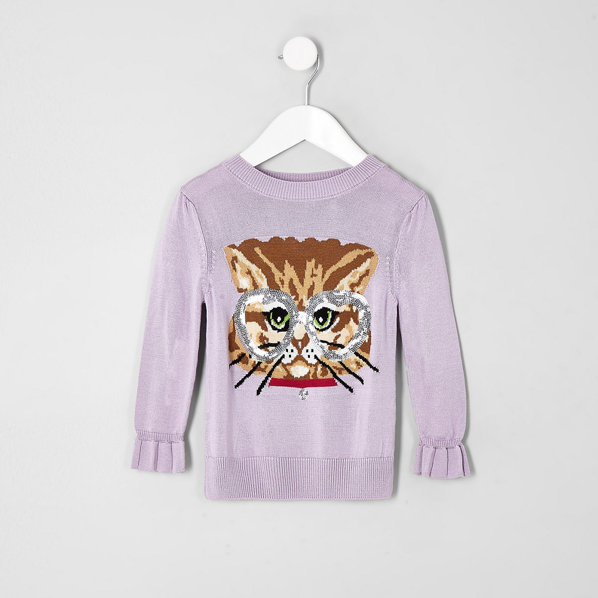 Mini girls purple cat sweater