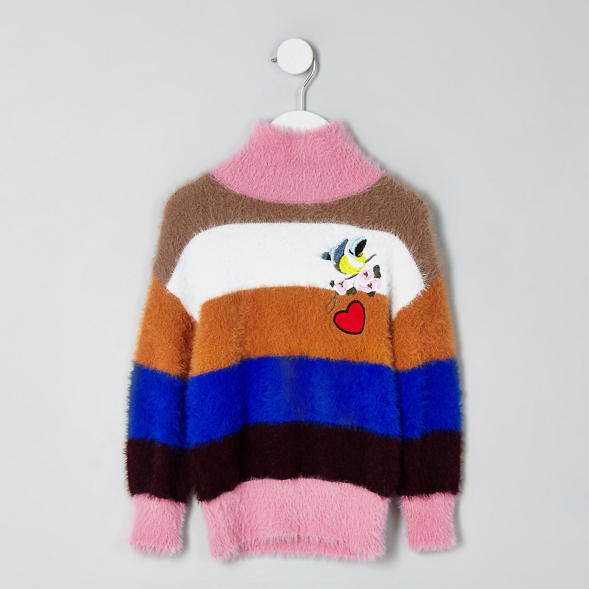 Mini girls blue fluffy stripe knit jumper