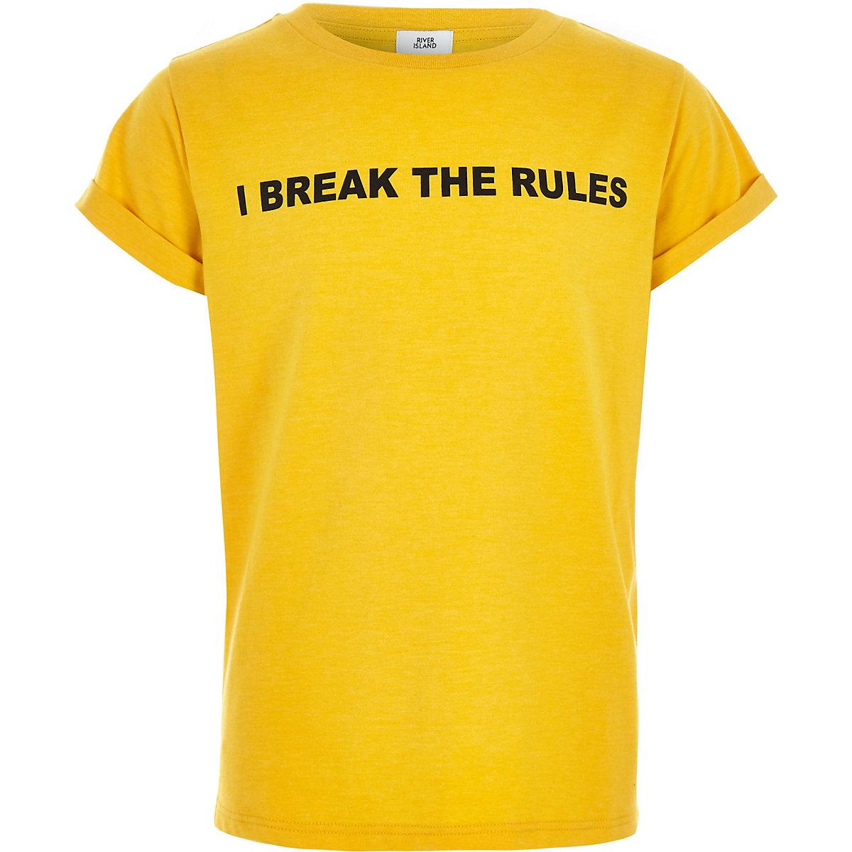 Girls yellow 'I break the rules' T-shirt