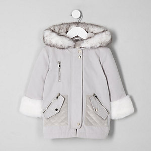 Mini girls cream faux fur trim parka jacket