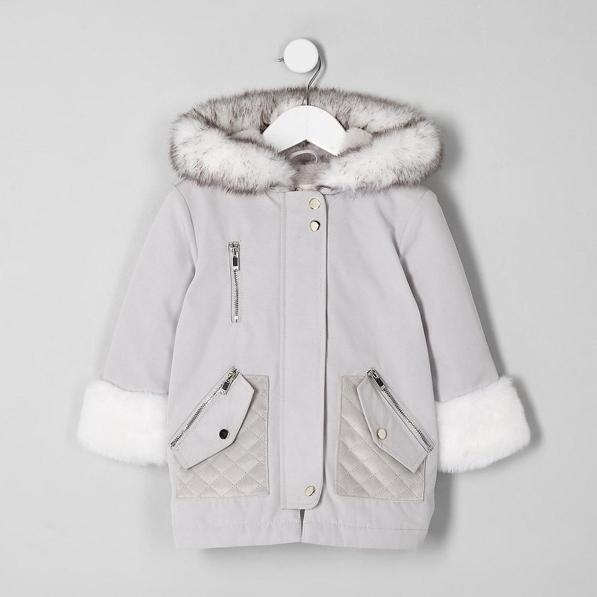 Mini girls cream faux fur trim parka jacket
