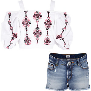 Girls white embroidered bardot top outfit