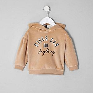 Mini - Bruine suède hoodie met pofmouwen voor meisjes